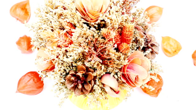 Bunch of dried flowers Bunch of dried flowers rotates on white background bouquet stock videos & royalty-free footage