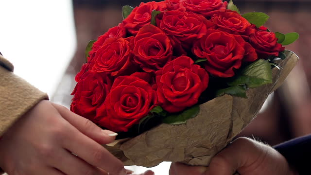 bunch of flowers for woman, bouquet of red roses, gift for girlfriend floristics - valentines day stock videos and b-roll footage