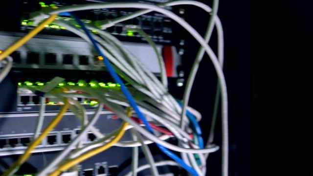 vídeos de stock e filmes b-roll de a bunch of many patch cords plugged into a network switch. 4k. - molho arranjo
