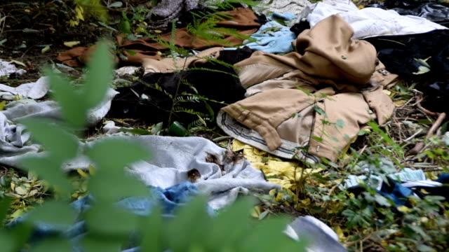 haufen alter gebrauchtkleidung in der natur entsorgt - textilien stock-videos und b-roll-filmmaterial