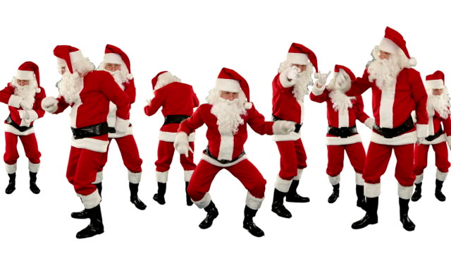 Bunch of Santa Claus Dancing Against White, Christmas Holiday video