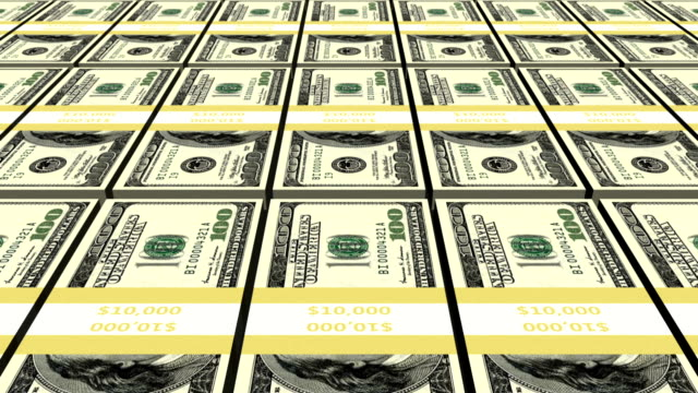 Bundles of Money - Tracking Animation A close-up tracking shot of million dollars in wads of 10,0000.  High-quality animation perfect for finance related documentaries or to show the stakes in a film.  us paper currency stock videos & royalty-free footage