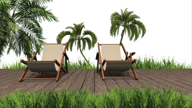 Bungalow, palm tree and grass and deck chair.  3d render blank for design white background