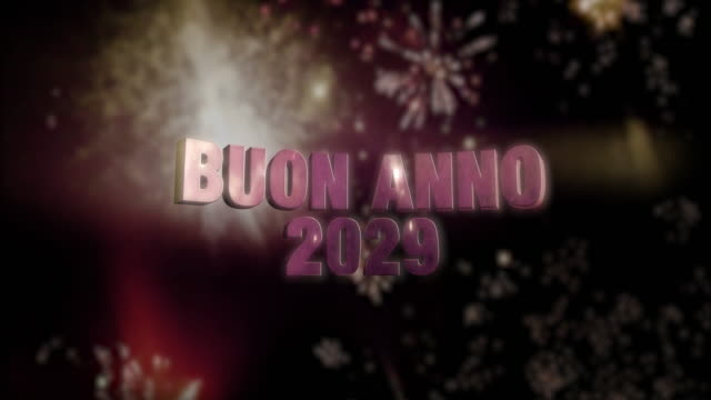 """Buon Anno 2029 Loop 4K Seamless looping fireworks with the 3d animated text """"Buon Anno (happy new year in Italian) 2029"""" in 4K resolution 2020 2029 stock videos & royalty-free footage"""