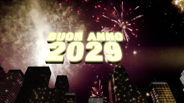 """Buon Anno 2029 Skyline Loop 4K Seamless looping 3d animated skyline with fireworks in the sky and the 3d text """"Buon Anno (happy new year in Italian) 2029"""" in 4K resolution 2020 2029 stock videos & royalty-free footage"""