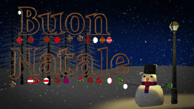 Buon Natale greeting with snowman and old gas lamp video