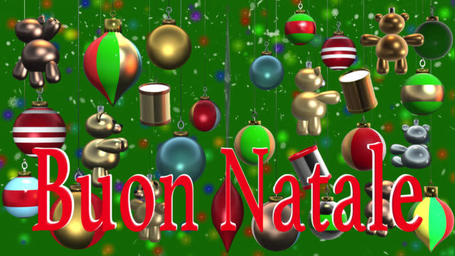 Buon Natale Video.Buon Natale Italian Greeting With Christmas Decorations And Snow