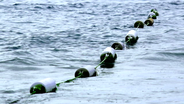 Buoy barrier on sea surface to protect people from boat