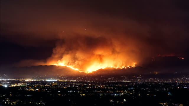 Burbank Fire Wild fire spreading through Burbank / La Tuna Canyon, CA california stock videos & royalty-free footage