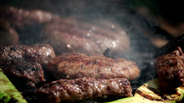 Burger and cevapcici on grill video
