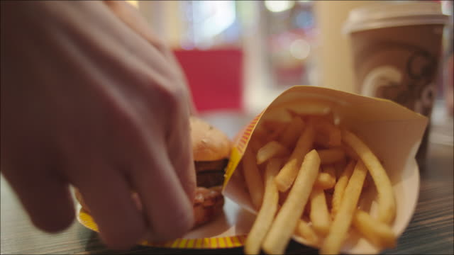 Burger and French Fries on the Plate video
