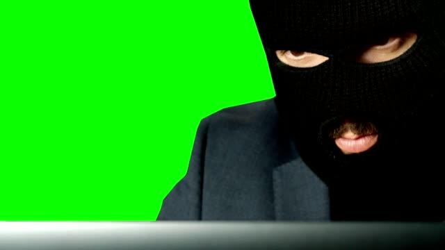 ein einbrecher blick auf laptop - green-screen - netzgewebe stock-videos und b-roll-filmmaterial