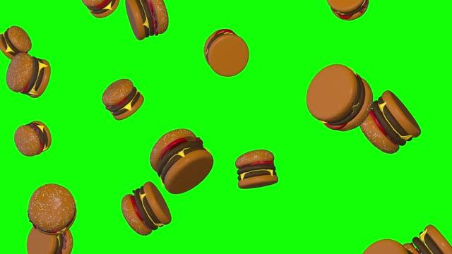 burguers hamburger pioggia caduta fast food consegna schermo verde 10 animazione 3d chroma chiave - hamburger video stock e b–roll