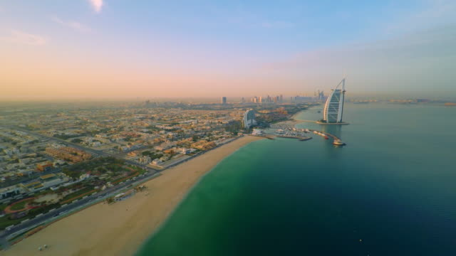 AERIAL Burj Al Arab hotel at dusk video