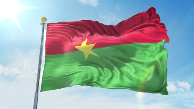 Burkina Faso flag waving in the wind against deep blue sky. National theme, international concept. 3D Render Seamless Loop 4K Burkina Faso flag waving in the wind against deep blue sky. National theme, international concept. 3D Render Seamless Loop 4K allegory painting stock videos & royalty-free footage