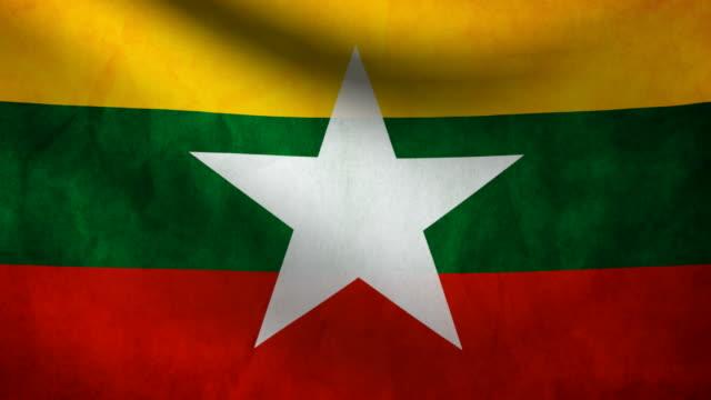 burma flag. - naypyidaw video stock e b–roll