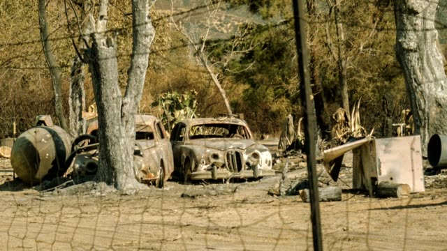 burned out cars - brent video stock e b–roll