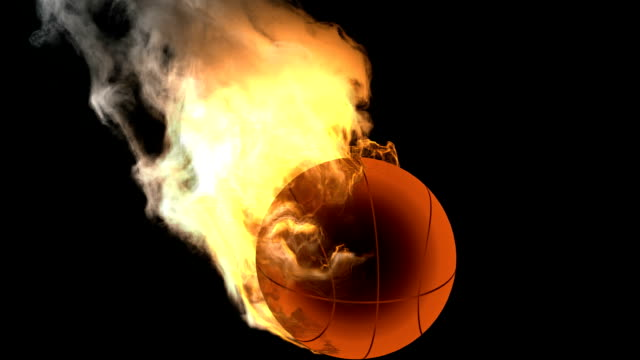 burning basketball ball. Alpha matted video