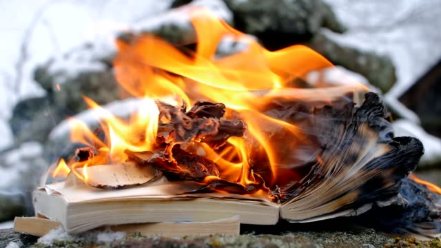 burning books on the background of stones and snow - censura video stock e b–roll