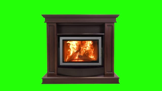 Burning fireplace isolated on green screen. Perfect for your own background using green screen Burning fireplace isolated on green screen. Perfect for your own background using green screen. fireplace stock videos & royalty-free footage
