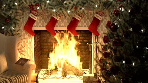 A burning fireplace with a lighted Christmas tree and garlands. The Concept of Christmas. Looped animation. A burning fireplace with a lighted Christmas tree and garlands. The Concept of Christmas. Looped animation. Produced in 4K. christmas tree stock videos & royalty-free footage