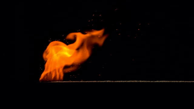 Burning Gunpowder on Black Gunpowder path ignites and burns with a bright flame on a black background explosive stock videos & royalty-free footage