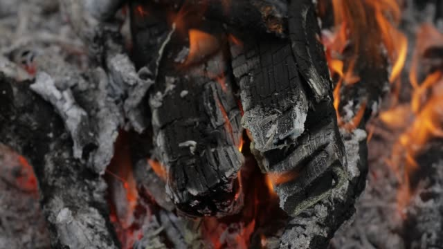 Burning hot charcoal with flame video