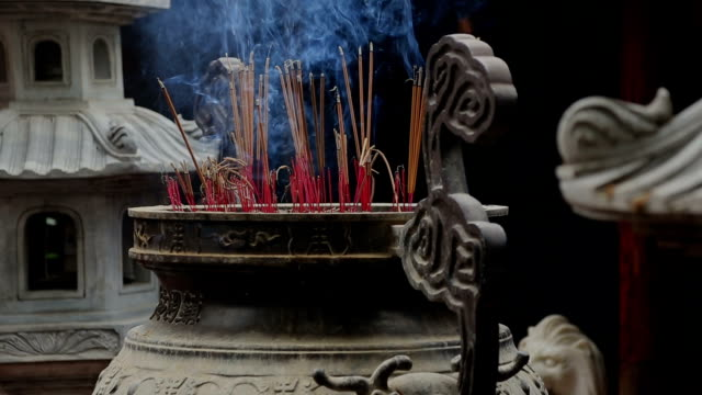 Burning incense In A Temple, Vietnam video