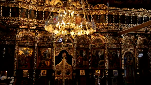 burning lights in orthodox church - cathedrals stock videos & royalty-free footage