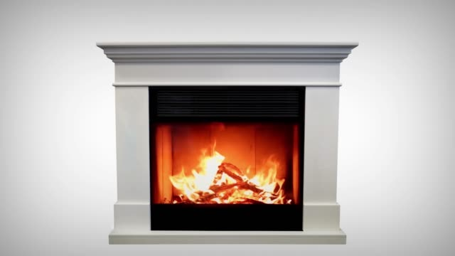 Burning of a classic fireplace isolated on white background. 4k Burning of a classic fireplace isolated on white background. 4k. fireplace stock videos & royalty-free footage