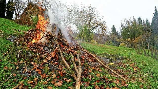 verbrennen von abfall garten - grundstück stock-videos und b-roll-filmmaterial