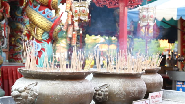 Burning of incense in pot. video