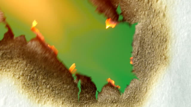 Burning paper. Close up. Greenscreen. video
