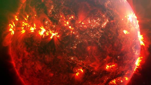 vídeos de stock e filmes b-roll de burning planet earth. nasa public domain imagery - apocalipse