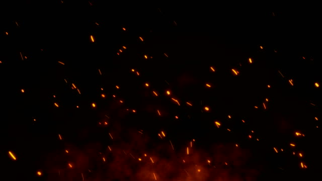 vídeos de stock e filmes b-roll de burning red hot sparks fly away from large fire in the night sky - cinza
