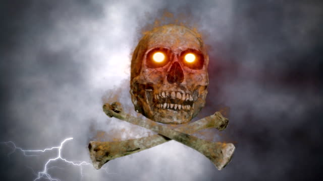 Burning skull and bones video