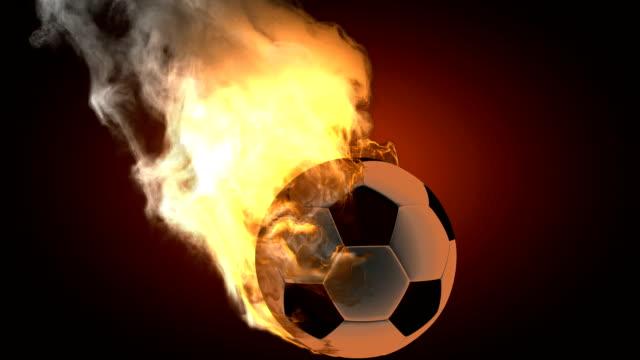 burning fußball ball.  alpha matte - sportliga stock-videos und b-roll-filmmaterial