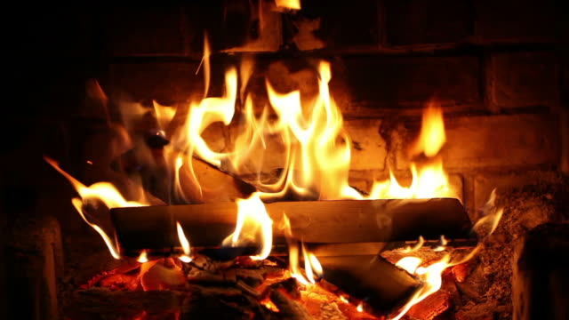 stockvideo's en b-roll-footage met burning wood in the fireplace. - fireplace