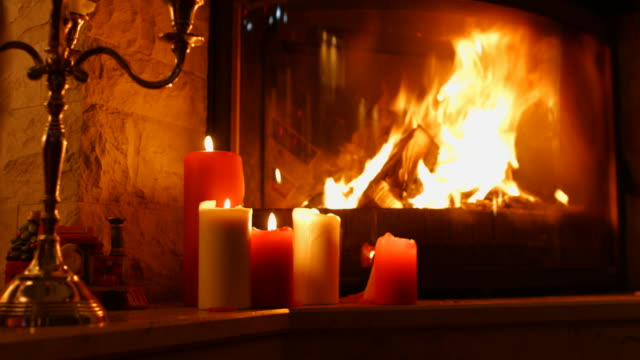 Burning Wood In The Fireplace. video