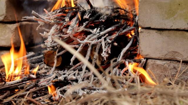 小さな枝に木の丸太を燃やす - 薪点の映像素材/bロール