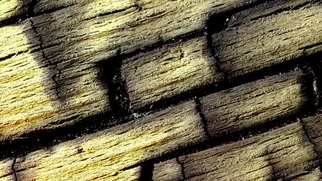 vidéos et rushes de gravure de surface en bois. bouchent. laps de temps. - bois texture