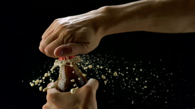 Bursting Coca cola bottle, Slow Motion video