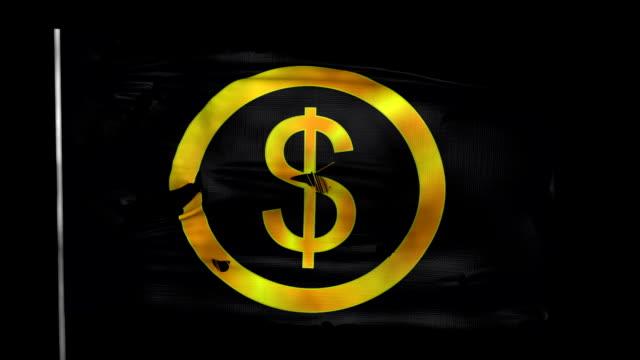 3d spricker dollar tecken flagga viftande i vinden med alfa kanal - dirty money bildbanksvideor och videomaterial från bakom kulisserna