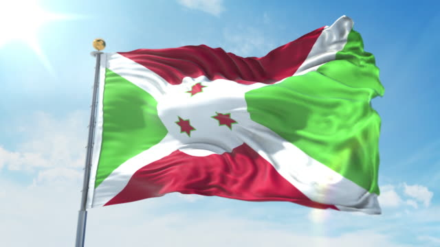 Burundi flag waving in the wind against deep blue sky. National theme, international concept. 3D Render Seamless Loop 4K Burundi flag waving in the wind against deep blue sky. National theme, international concept. 3D Render Seamless Loop 4K allegory painting stock videos & royalty-free footage
