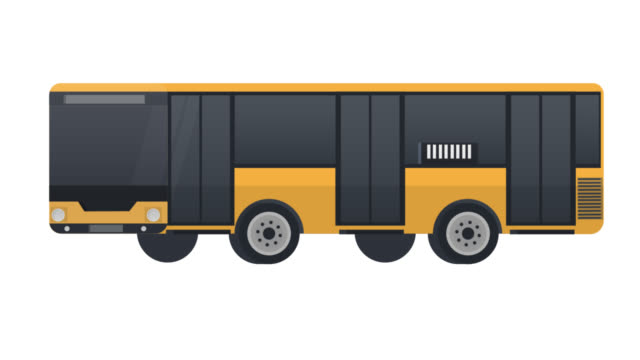 Bus. Animation of a vehicle for transporting passengers. Cartoon