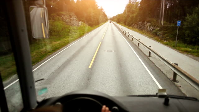 POV bus driving video