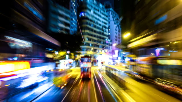 bus through city with blur motion building video