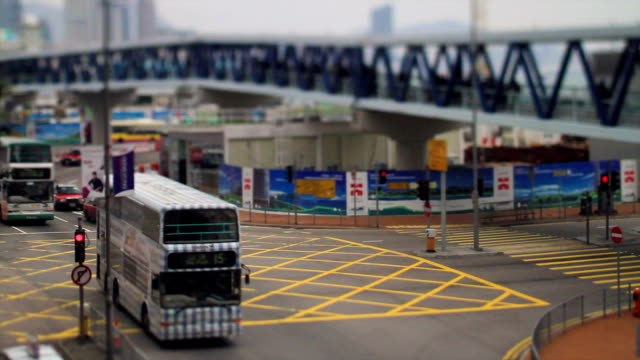 Buses are Moving on Hong Kong's Crossroad video