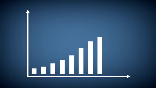 business and finance growth infographic bar graph or chart animation - spostarsi verso l'alto video stock e b–roll