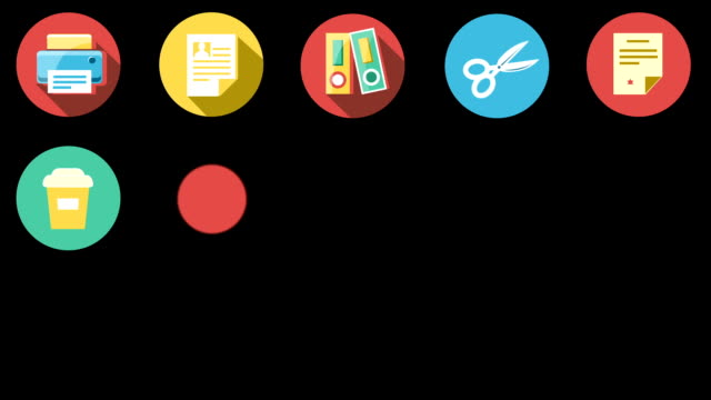 Business and Office Flat Icons Set. video